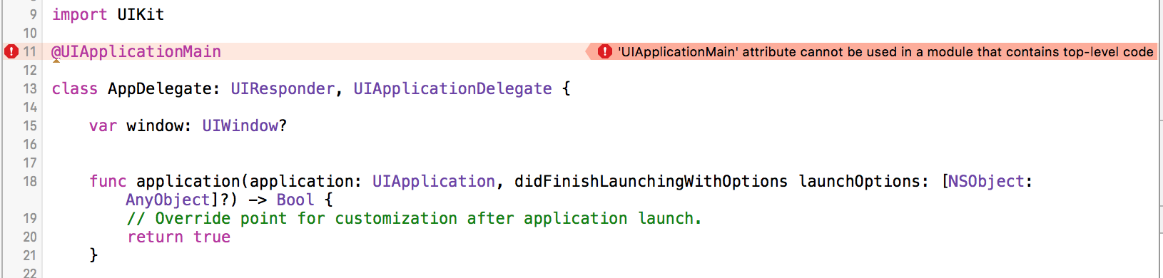 When you roll your own main.swift implementation, you can no longer use the @UIApplicationMain directive. That's okay! Just get rid of it.